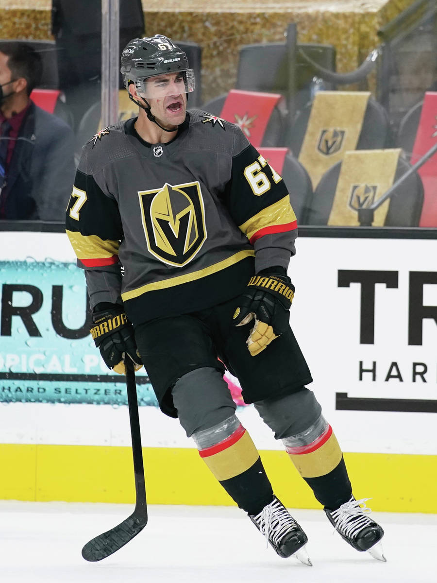 Vegas Golden Knights left wing Max Pacioretty (67) celebrates after scoring against the Colorad ...