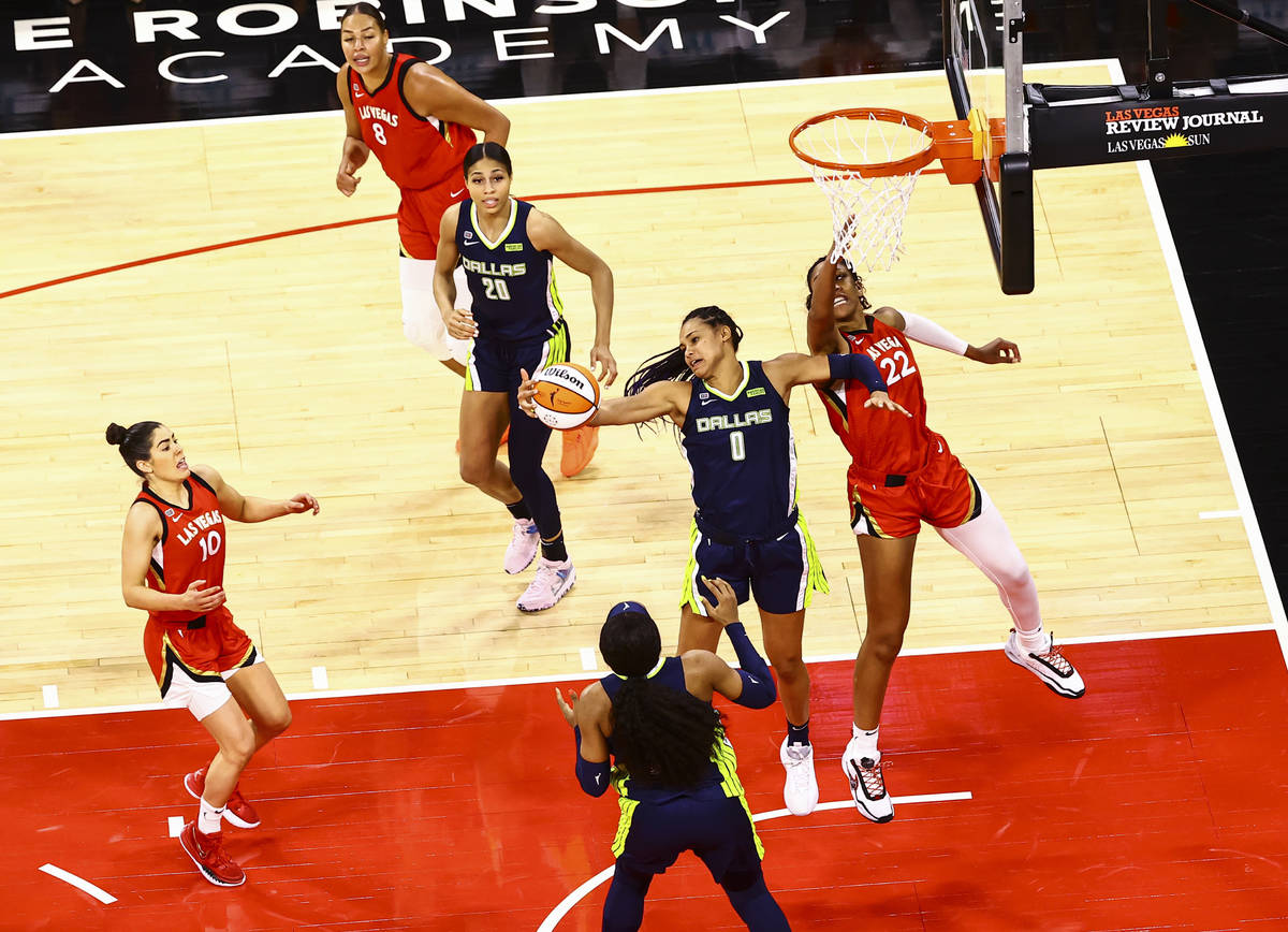 Dallas Wings' Satou Sabally (0) gets a rebound in front of Las Vegas Aces' A'ja Wilson (22) dur ...