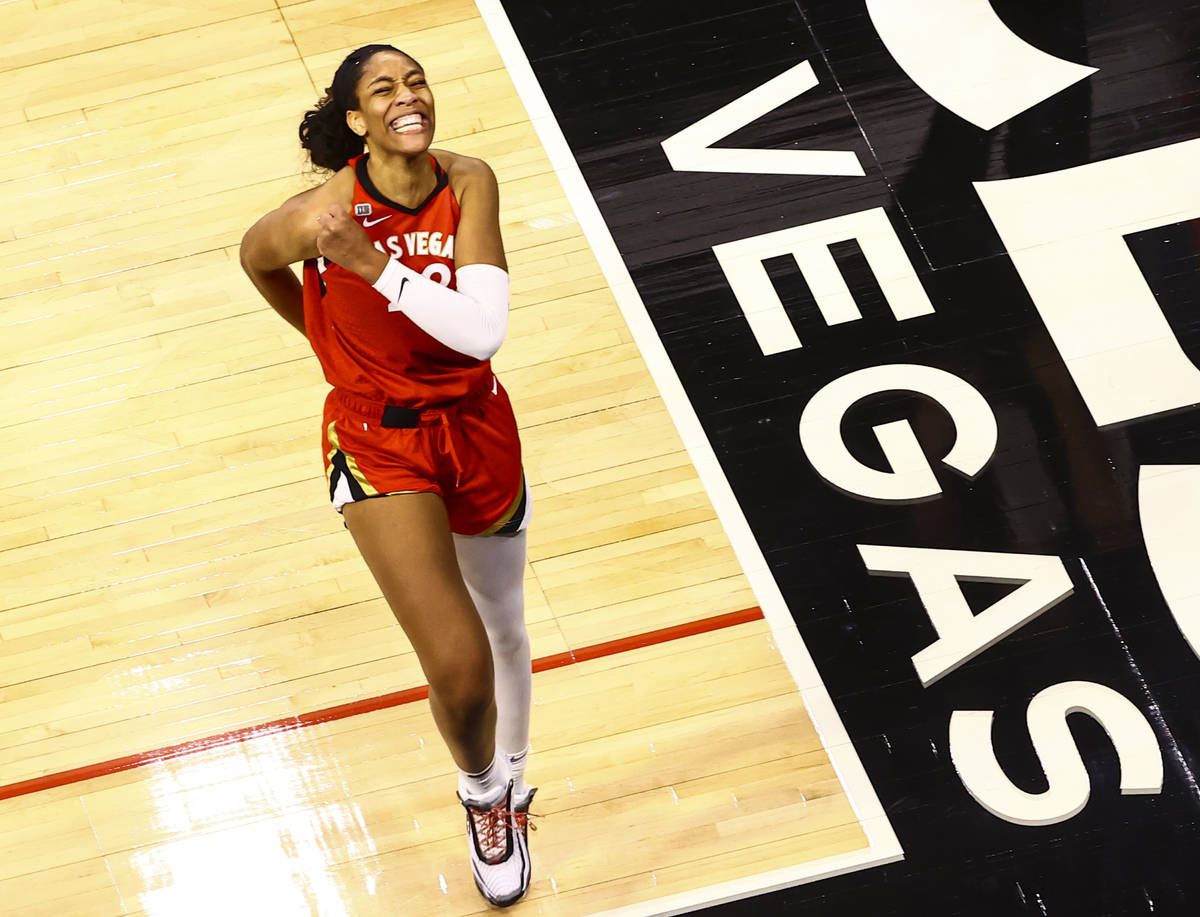 Las Vegas Aces' forward A'ja Wilson (22) reacts after scoring against the Dallas Wings during t ...