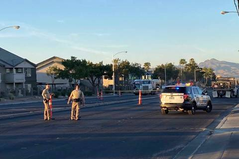 Las Vegas police were investigating a crash involving a vehicle versus pedestrian on Nellis Bou ...