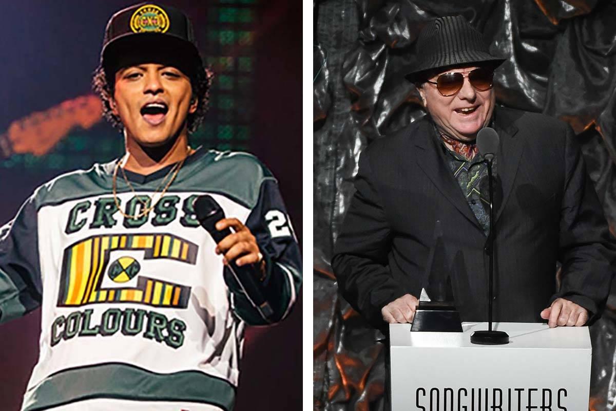 Bruno Mars, left, and Van Morrison have announced more shows in Las Vegas. (Inivision/AP)