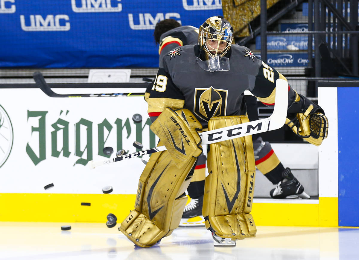 Golden Knights goaltender Marc-Andre Fleury skates onto the ice to warm up before taking on the ...