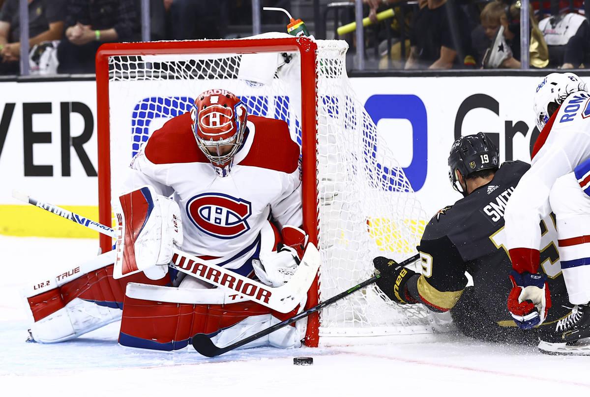 Montreal Canadiens goaltender Carey Price (31) blocks an attempt from Golden Knights' Reilly Sm ...