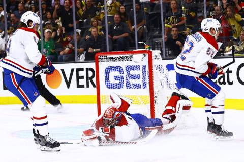Montreal Canadiens goaltender Carey Price (31) stops the puck against the Golden Knights during ...