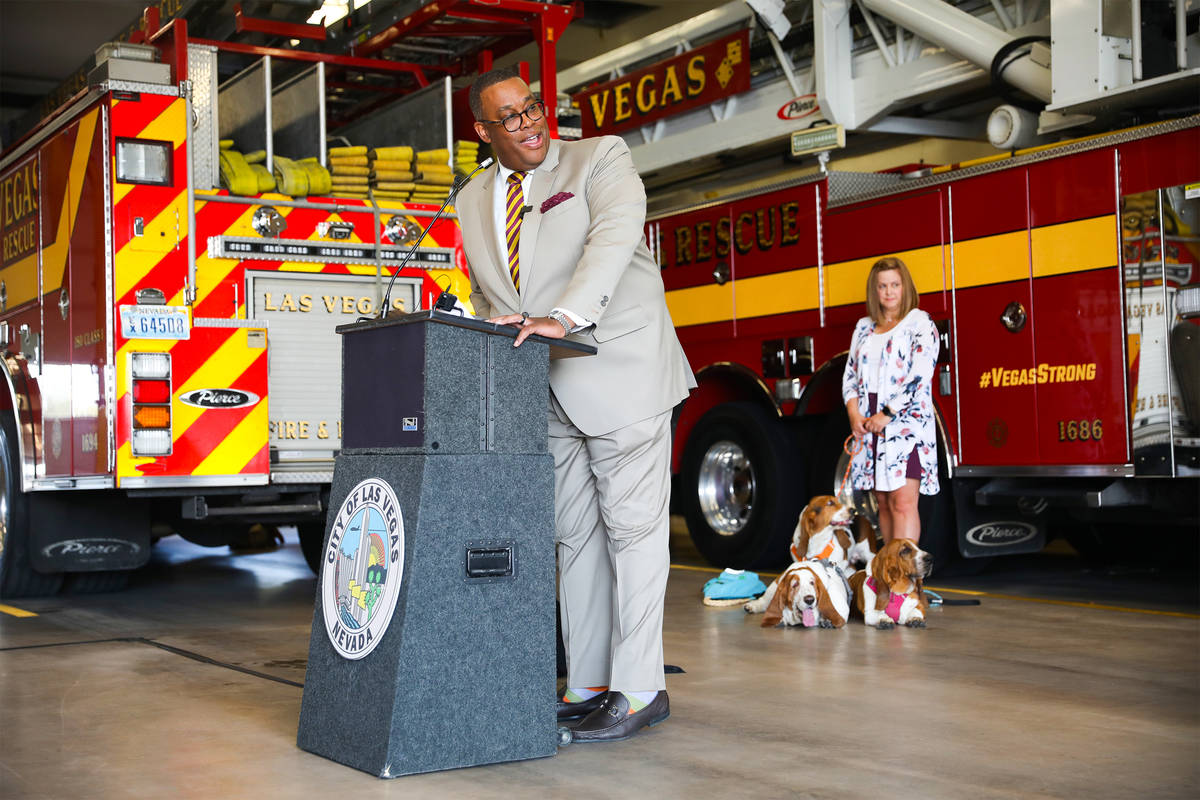 Las Vegas Councilman Cedric Crear addresses the media at an event to teach the public about ani ...