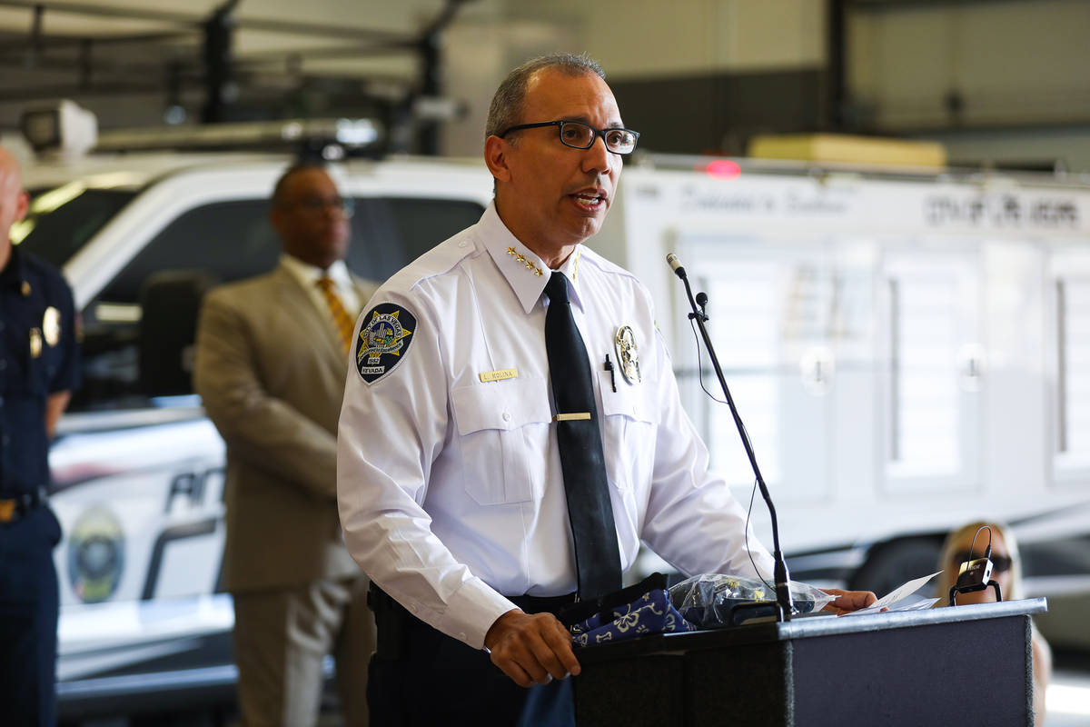 Department of Public Safety Chief Louis Molina addresses the media at an event to teach the pub ...