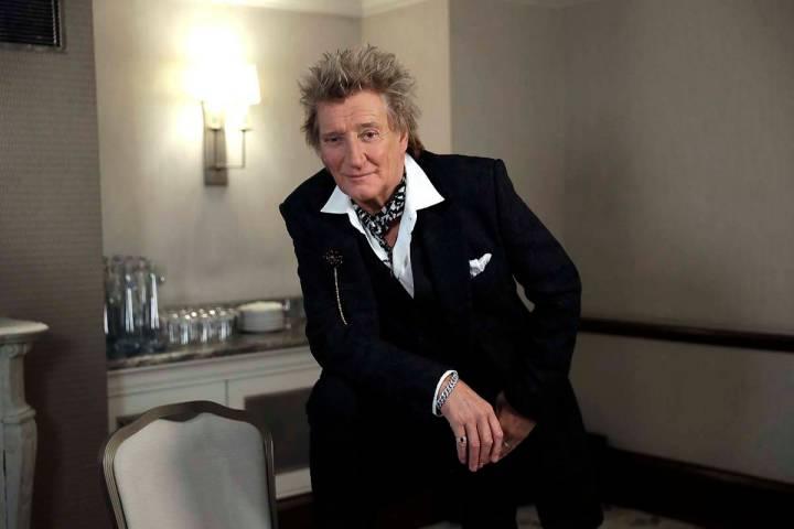 In this photo taken on Thursday, Nov. 14, 2019, British singer Rod Stewart poses for the media ...
