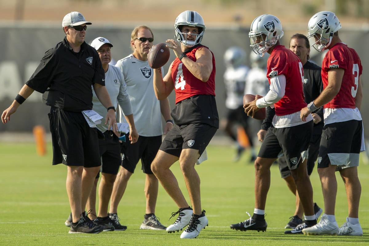 Las Vegas Raiders quarterback Derek Carr (4) prepares to throw during the teamÕs NFL footb ...