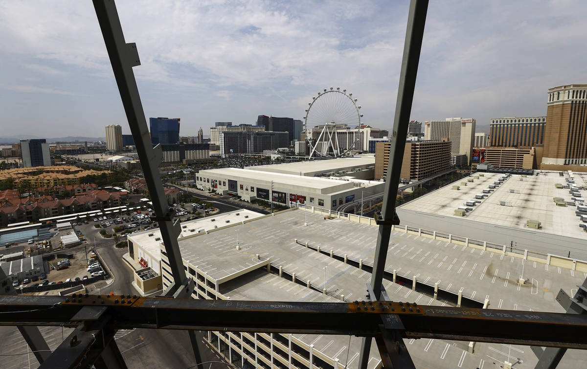 A view of the Las Vegas Strip as construction continues during a tour of the Madison Square Gar ...