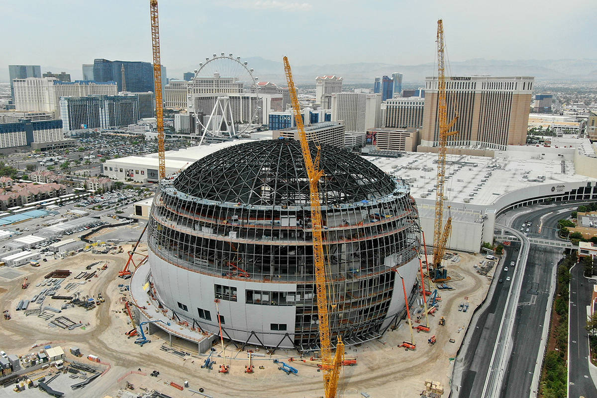An aerial photo of the MSG Sphere at the Venetian showing the completed installation of massive ...