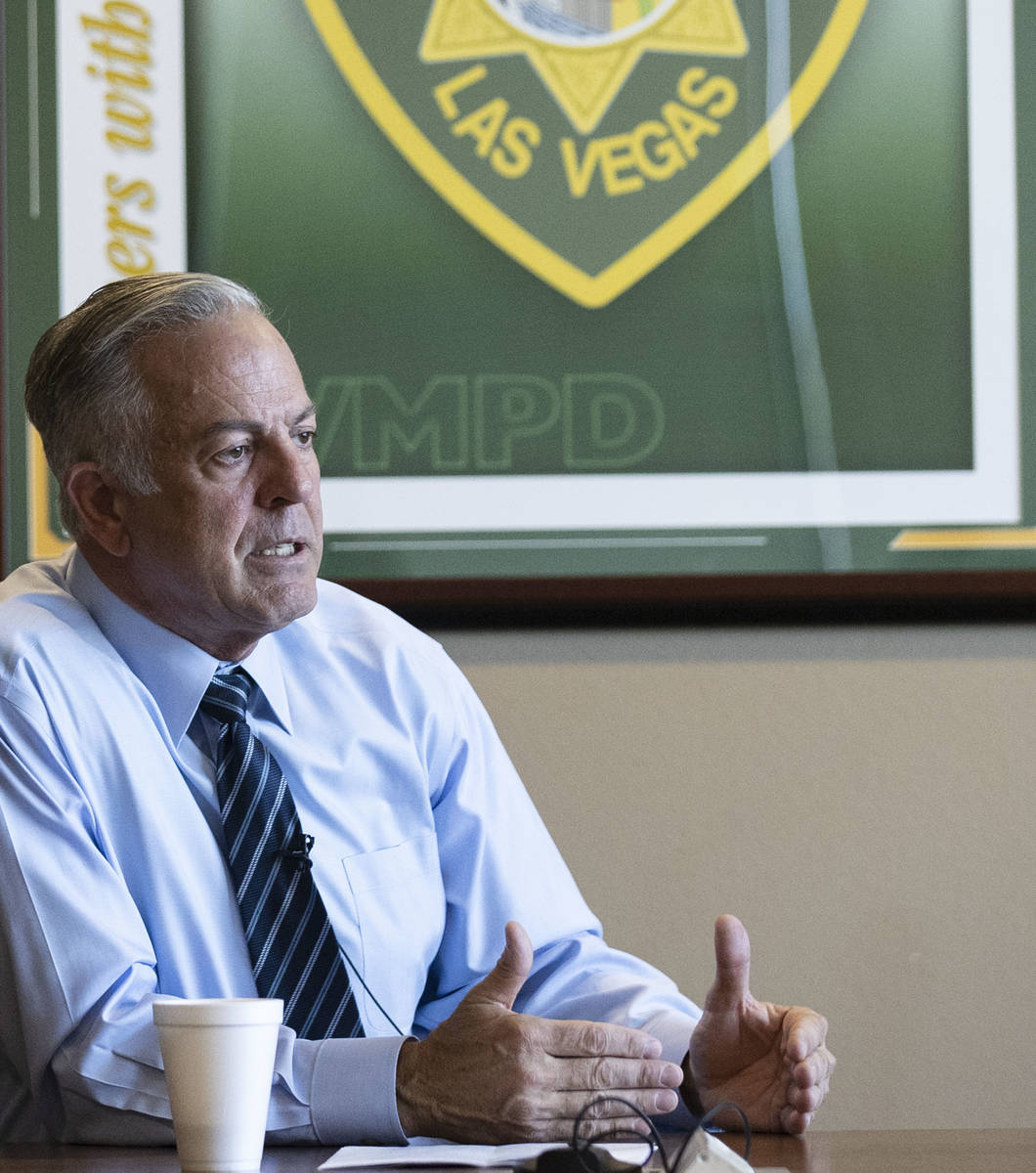 Clark County Sheriff Joe Lombardo speaks during an interview with the Review-Journal at the Las ...