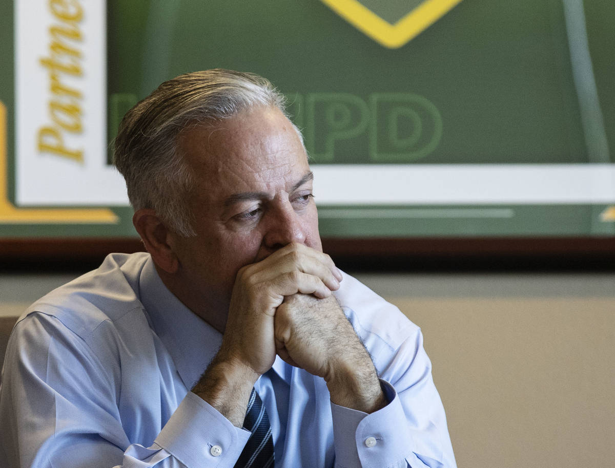 Clark County Sheriff Joe Lombardo listens reporters questions during an interview with the Revi ...