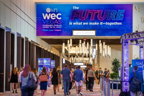 Attendees make their way to the Meeting Professionals International World Education Congress (M ...