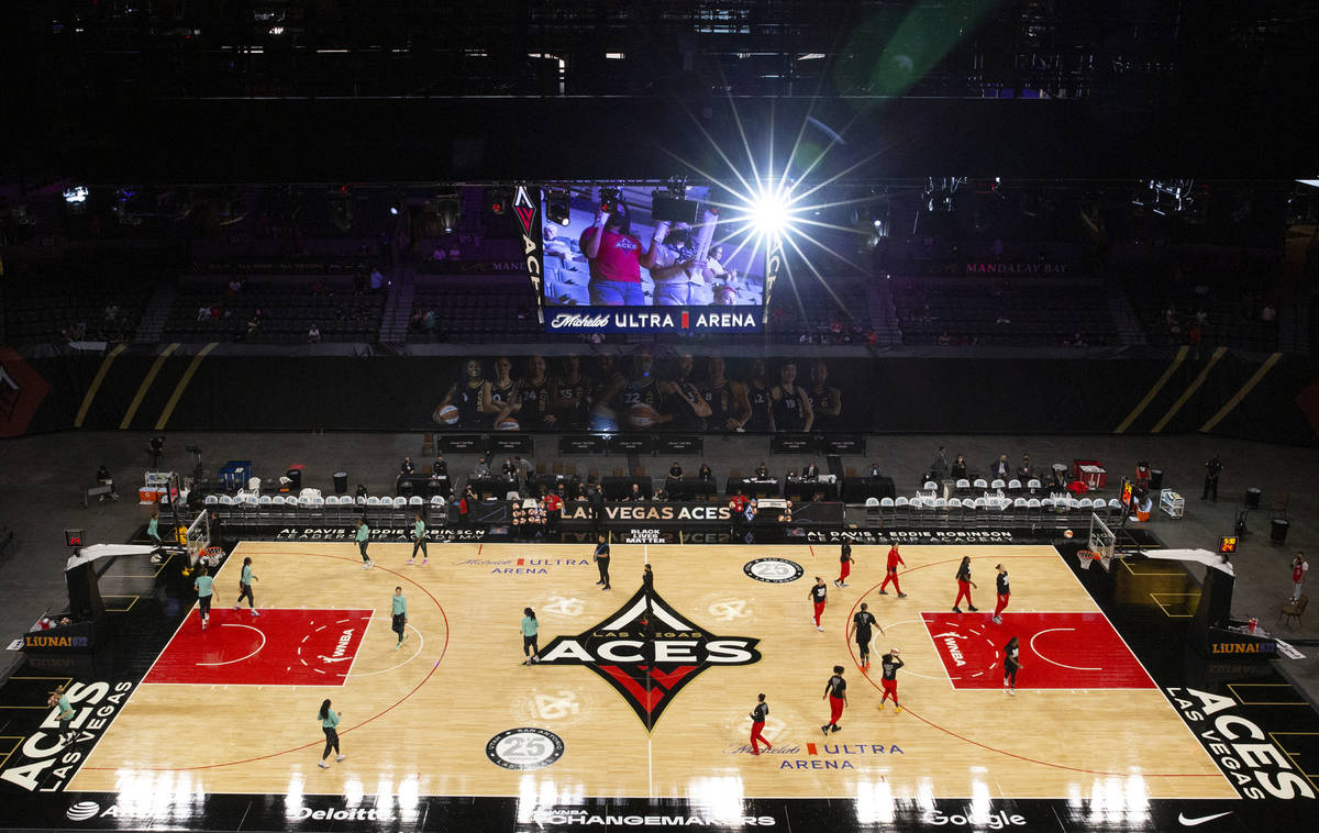 The Las Vegas Aces and New York Liberty warm up before a WNBA game at Michelob Ultra Arena on T ...