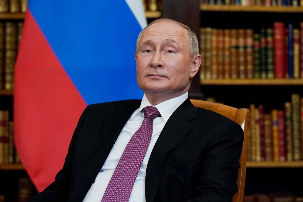 Russian President Vladimir Putin, meets with President Joe Biden, Wednesday, June 16, 2021, at ...