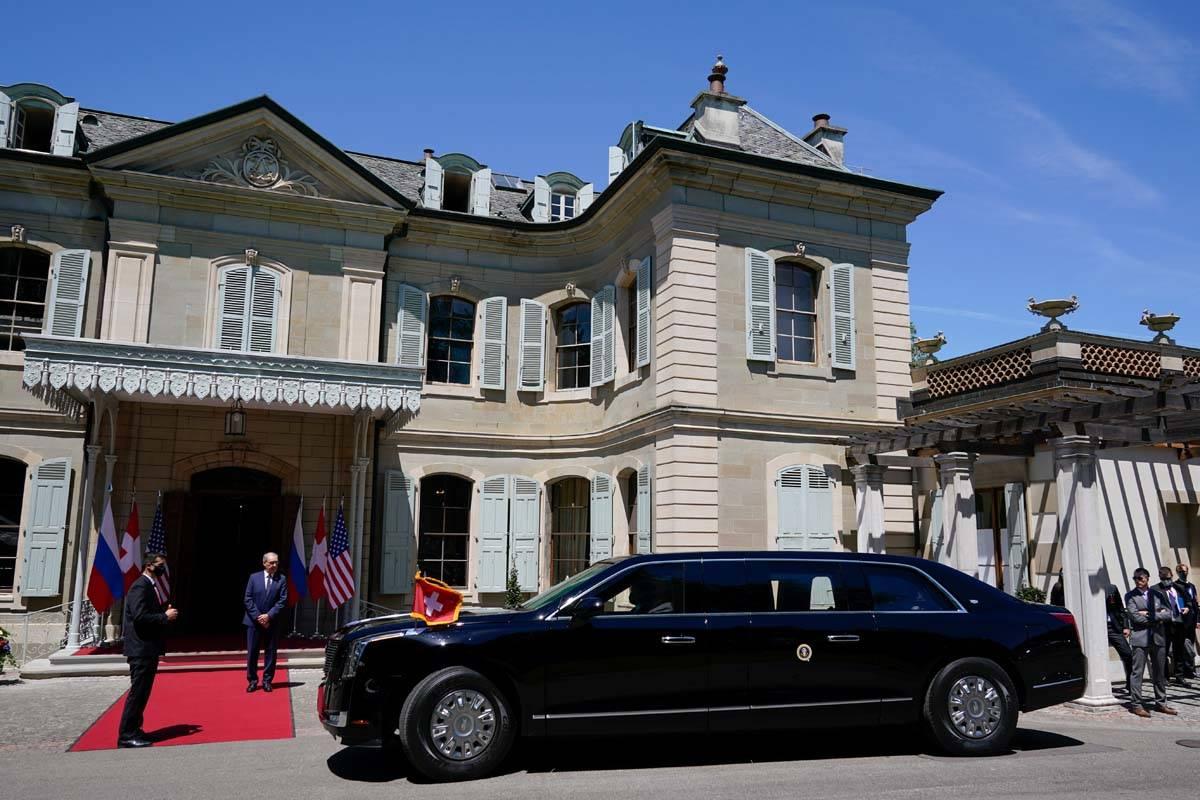 President Biden's motorcade arrives for his meeting with Russian President Vladimir Putin, at t ...