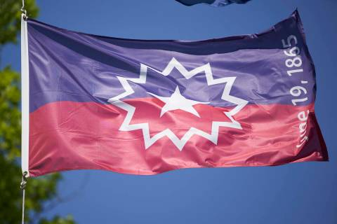 The Juneteenth flag commemorates the day that slavery ended in the U.S. (AP Photo/Nati Harnik)