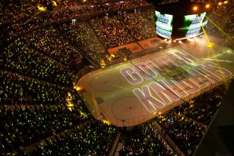 The crowd is on their feet before Game 1 of an NHL Stanley Cup semifinal playoff series between ...