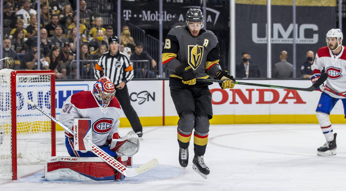 Montreal Canadiens goaltender Carey Price (31) traps the puck after Golden Knights right wing R ...