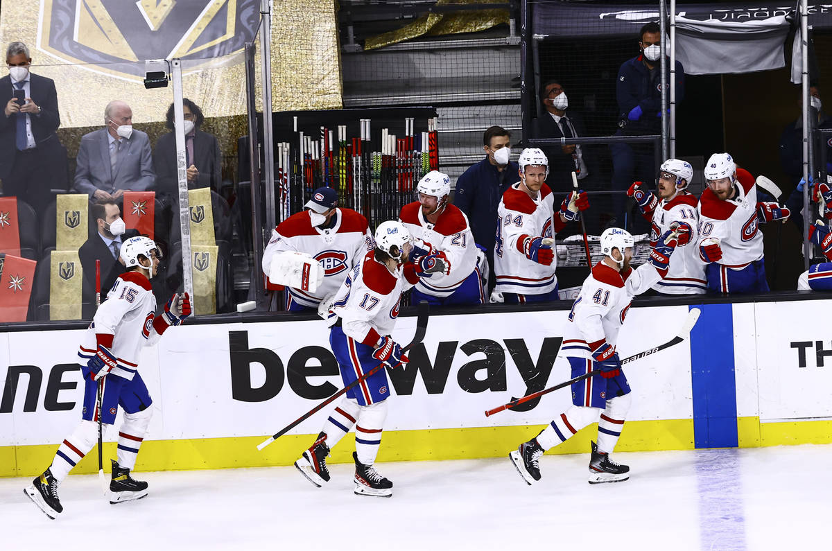 Montreal Canadiens' Paul Byron (41) celebrates his goal against Golden Knights goaltender Marc- ...