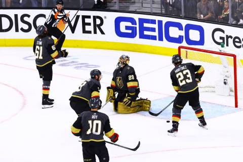 The Montreal Canadiens score the second of two goals past Golden Knights goaltender Marc-Andre ...