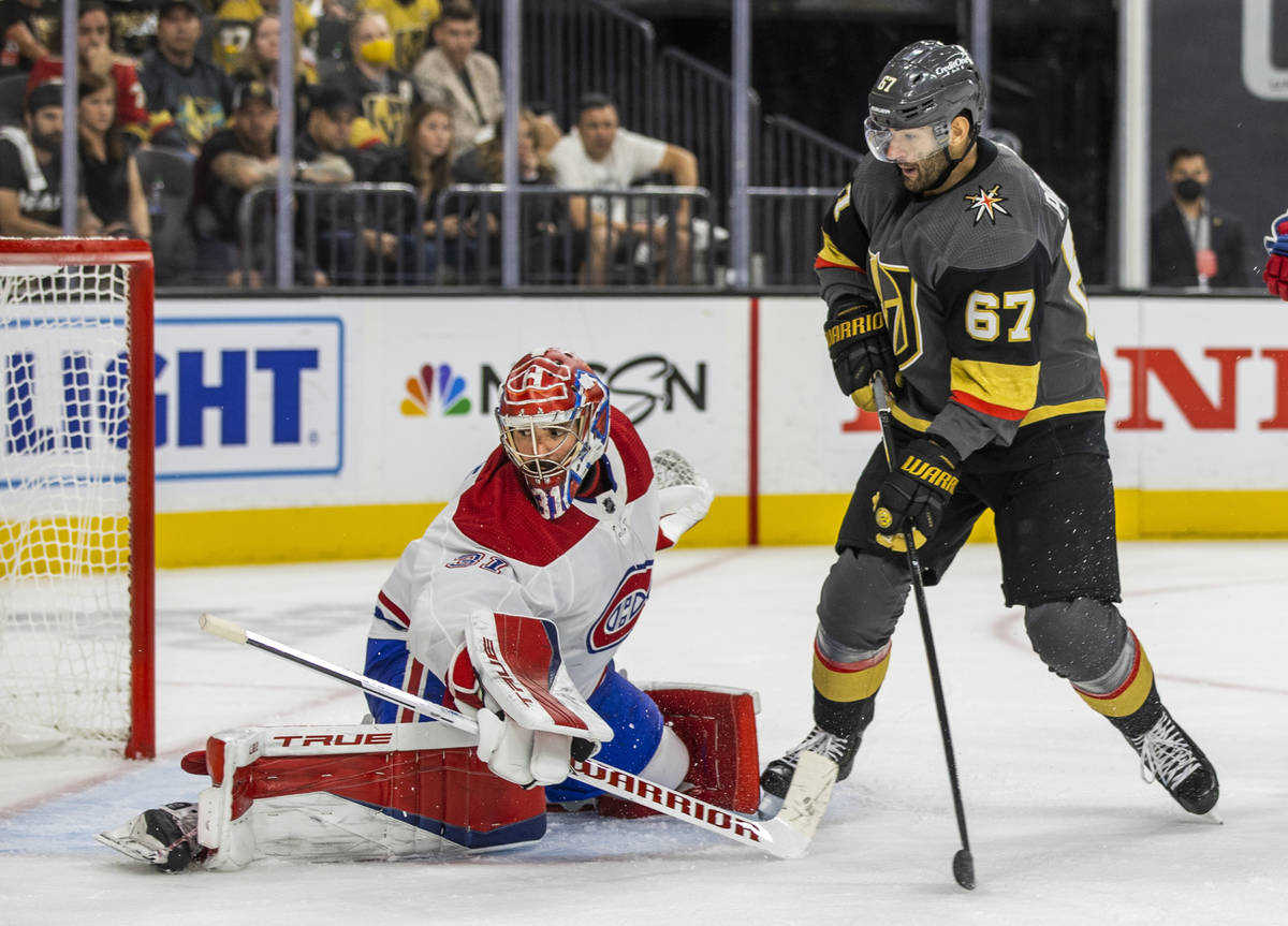Montreal Canadiens goaltender Carey Price (31) deflects a shot on goal by Golden Knights left w ...