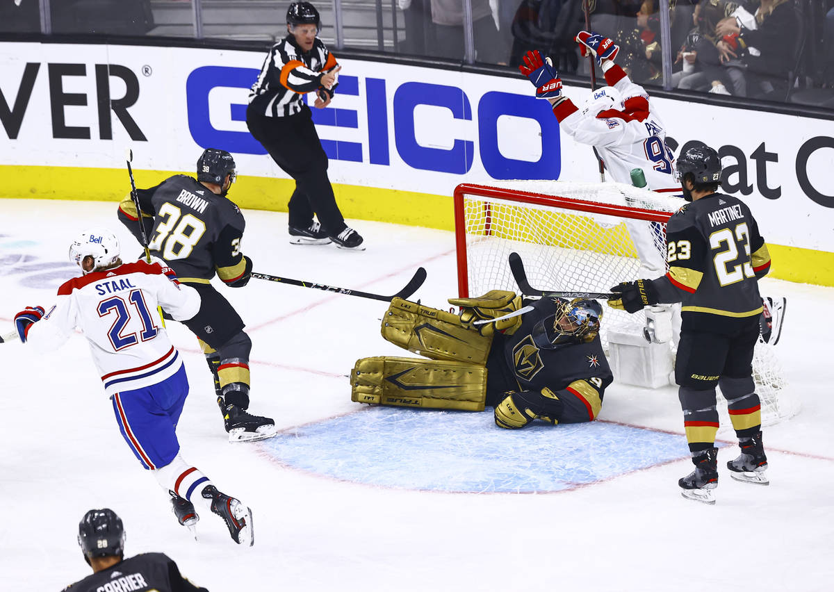 The Montreal Canadiens score the first of two goals past Golden Knights goaltender Marc-Andre F ...
