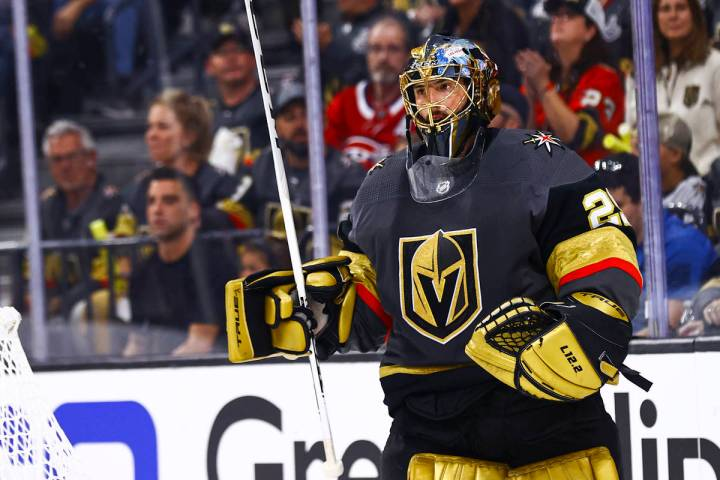 Golden Knights goaltender Marc-Andre Fleury (29) looks on during a break in play in the first p ...