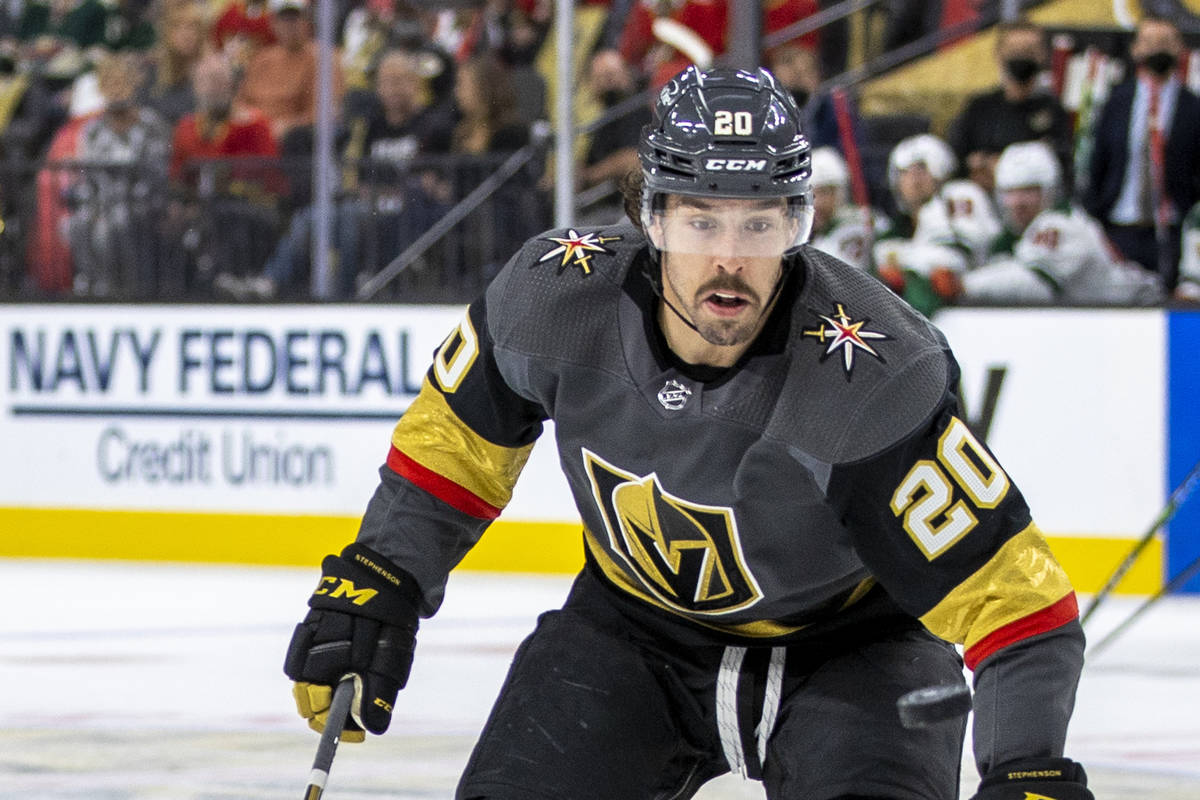 Golden Knights center Chandler Stephenson is shown at T-Mobile Arena on Sunday, May 16, 2021, i ...