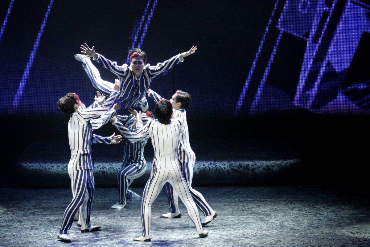 Cirque du Soleil performers debut part of the new Michael Jackson One show at Mandalay Bay Reso ...