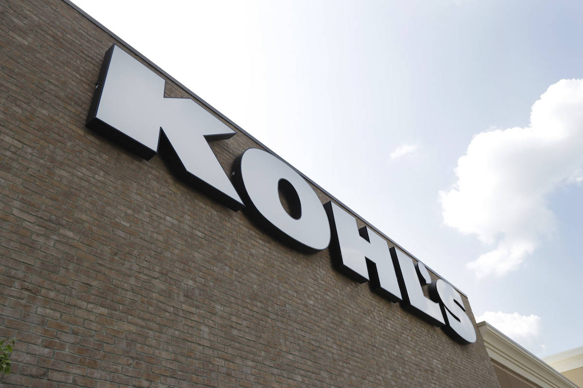 In this Aug. 28, 2018, fie photo, a Kohl's sign is shown in front of a Kohl's store in Concord, ...