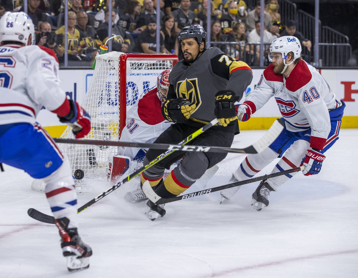 Golden Knights right wing Ryan Reaves (75) is late to the net for a shot versus Montreal Canadi ...