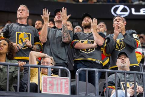 Golden Knights fans are dismayed as a goal is not counted versus the Montreal Canadiens during ...