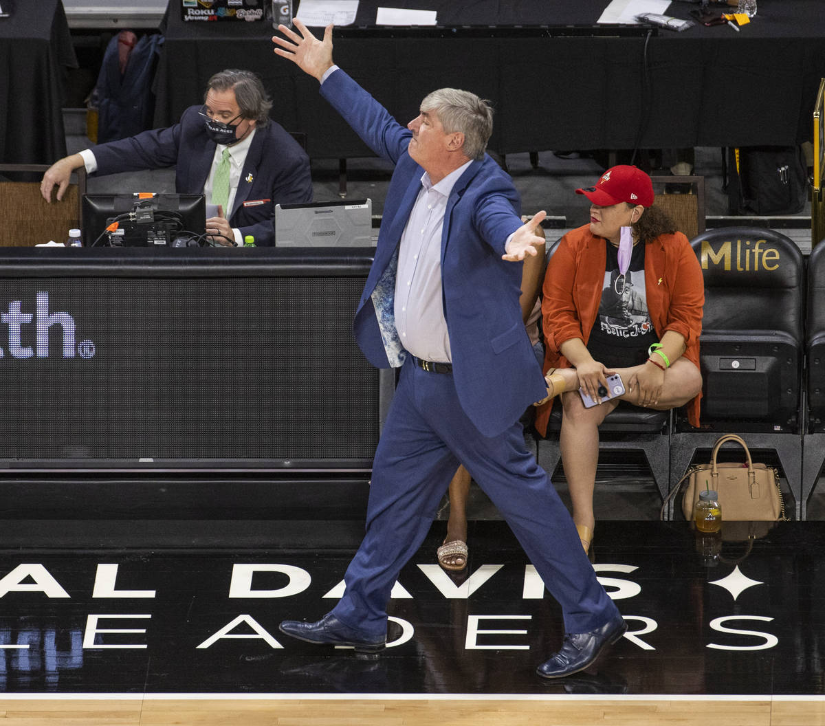 Las Vegas Aces head coach Bill Laimbeer contests a foul call versus the New York Liberty during ...