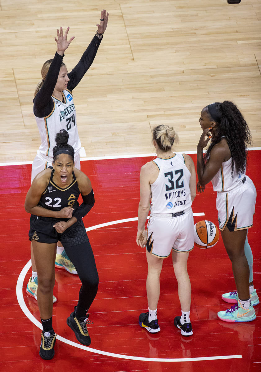 Las Vegas Aces forward A'ja Wilson (22) is pumped up after a score and a foul by New York Liber ...