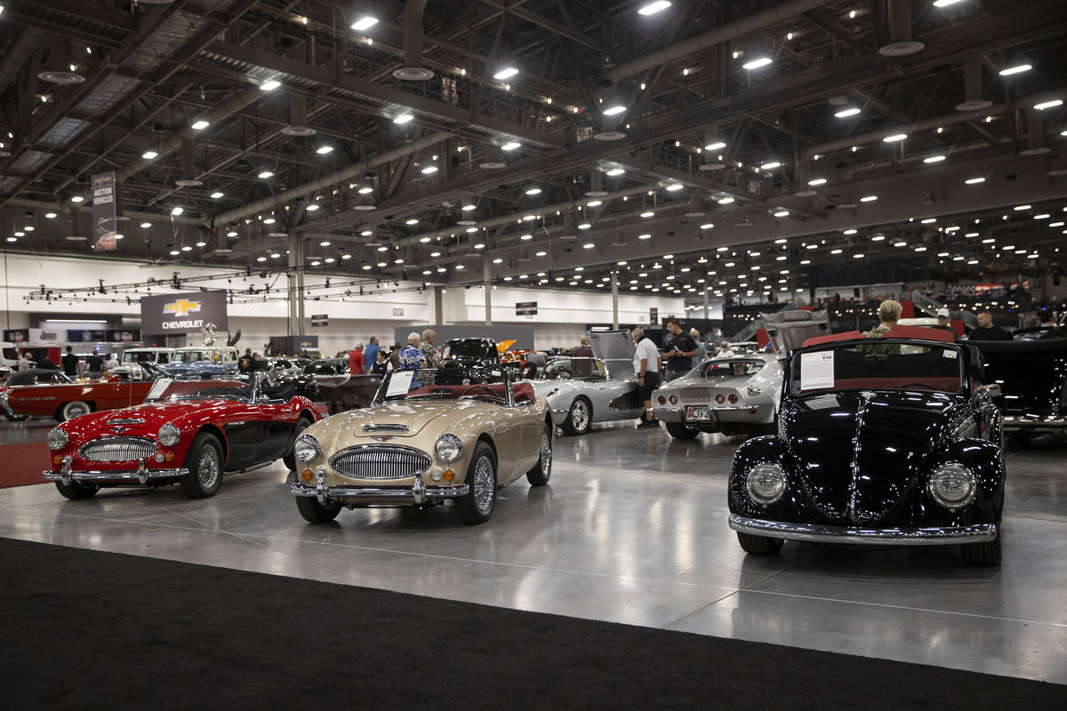 Cars are showcased in the Barrett-Jackson auction at the Las Vegas Convention Center West Hall ...
