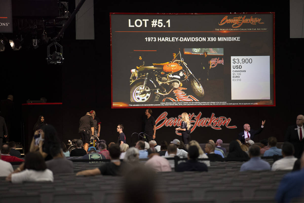 A 1973 Harley-Davison X90 minibike is actioned off in the Barrett-Jackson auction at the Las Ve ...