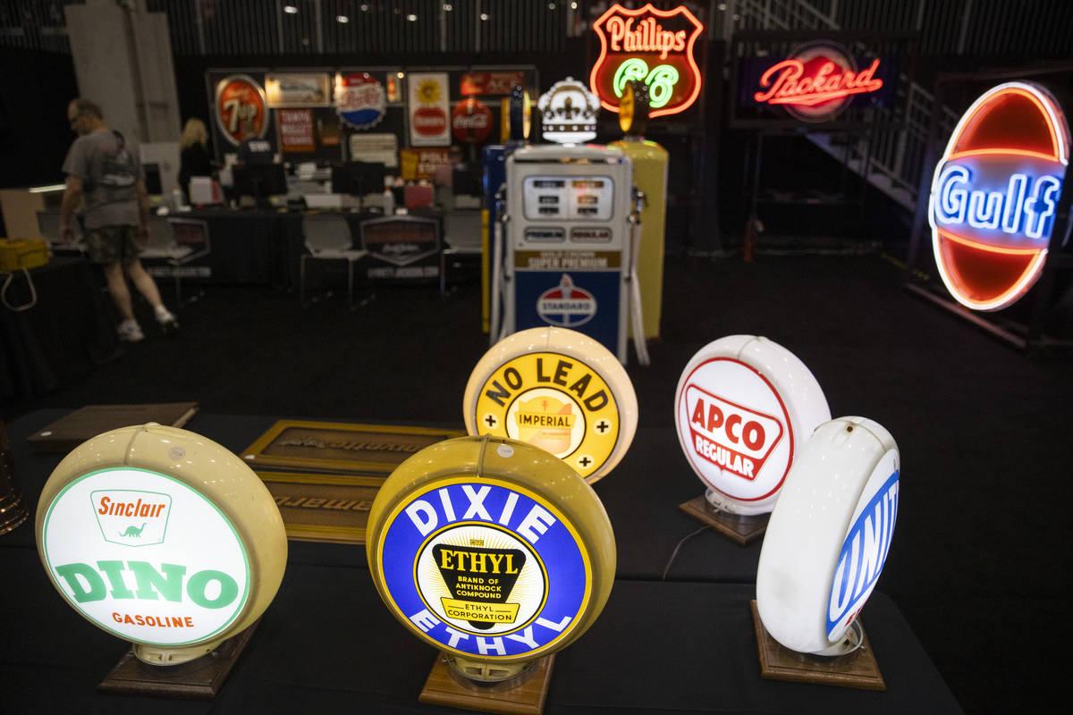 Car memorabilia is showcased in the Barrett-Jackson auction at the Las Vegas Convention Center ...