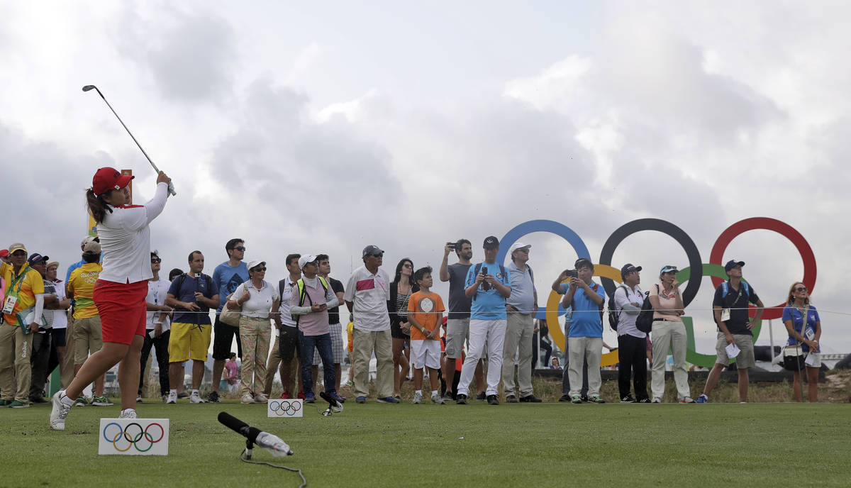 Inbee Park of South Korea, tees on the 17th hole during the second round of the women's golf ev ...