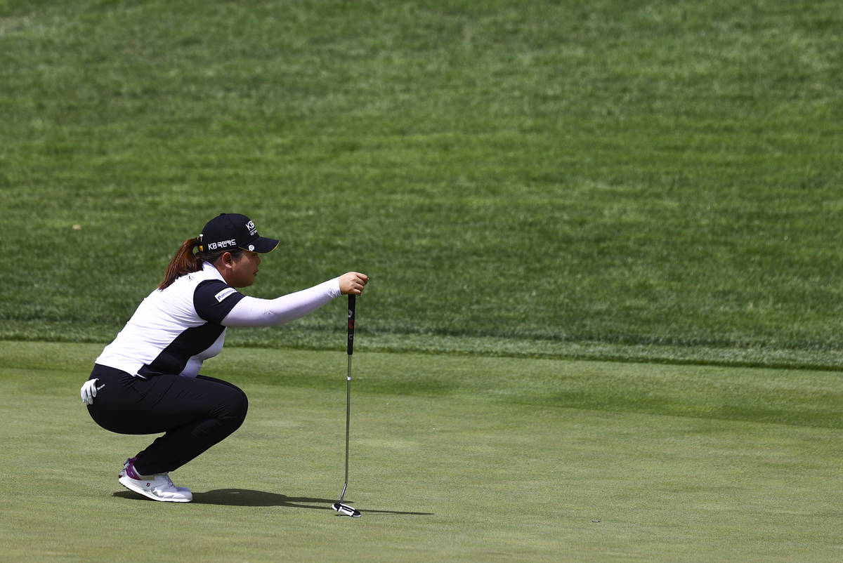 Inbee Park lines up a putt shot at the 12th hole during the first round of the Bank of Hope LPG ...