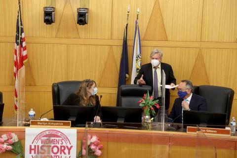 Clark County Commissioners, from left, Chairman Marilyn Kirkpatrick, Tick Segerblom and Jim Gib ...
