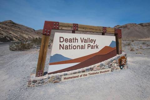 A sign marks the entrance to Death Valley National Park, Calif., in July 2018. (Las Vegas Revie ...
