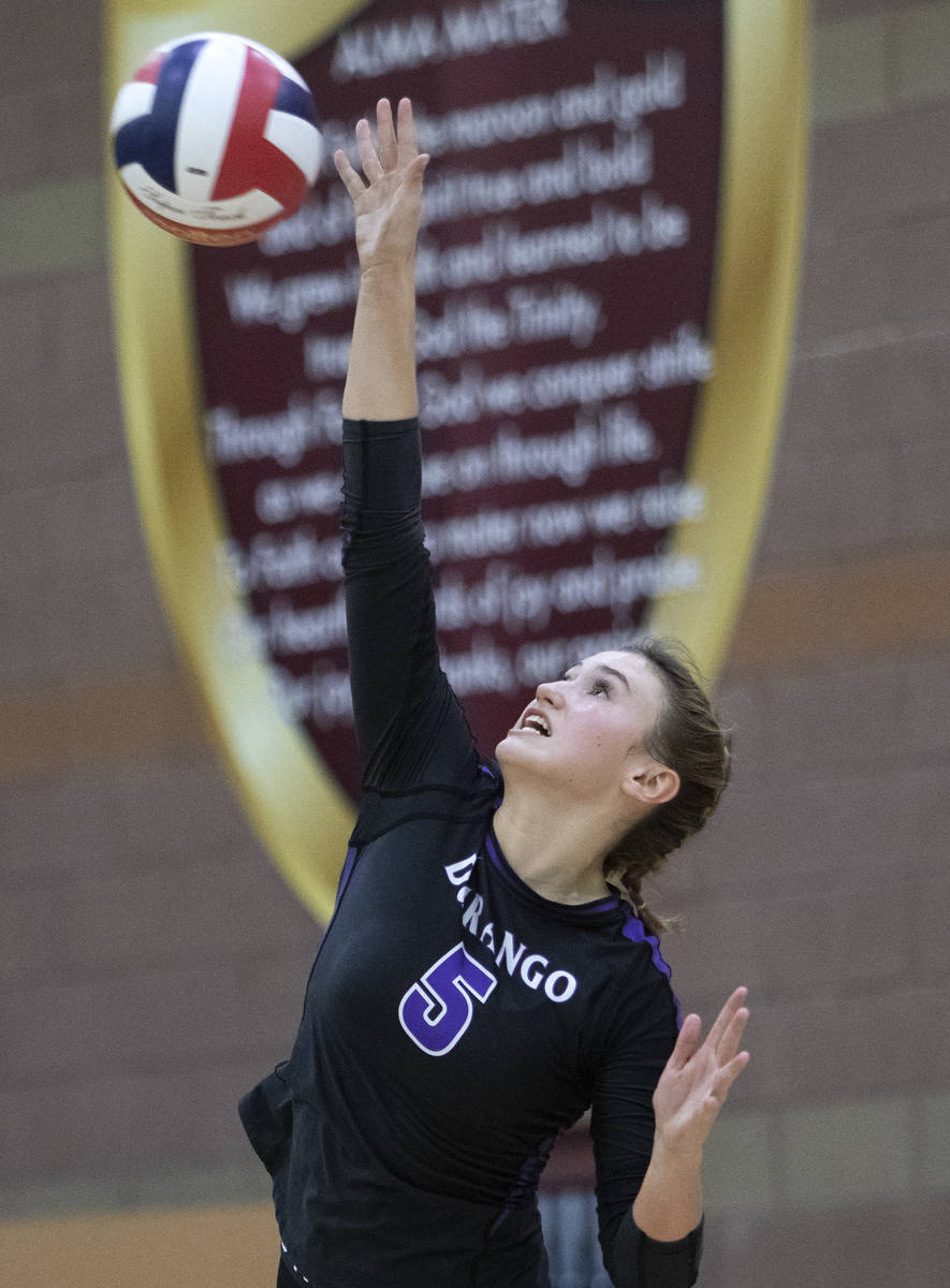 Durango High School's Aspen Steele (5) serves during the Class 4A state volleyball championship ...