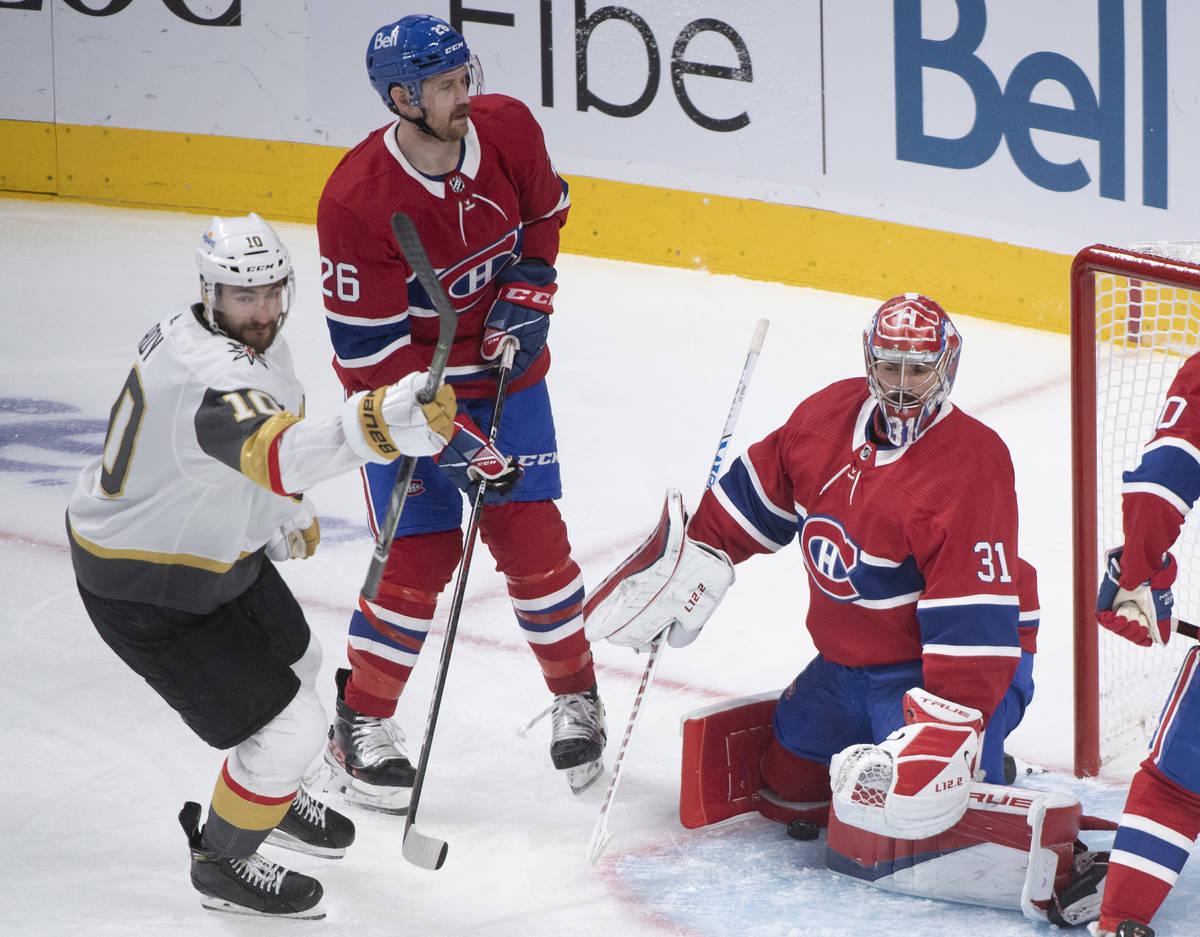Vegas Golden Knights' Nicolas Roy (10) scores against Montreal Canadiens goaltender Carey Price ...