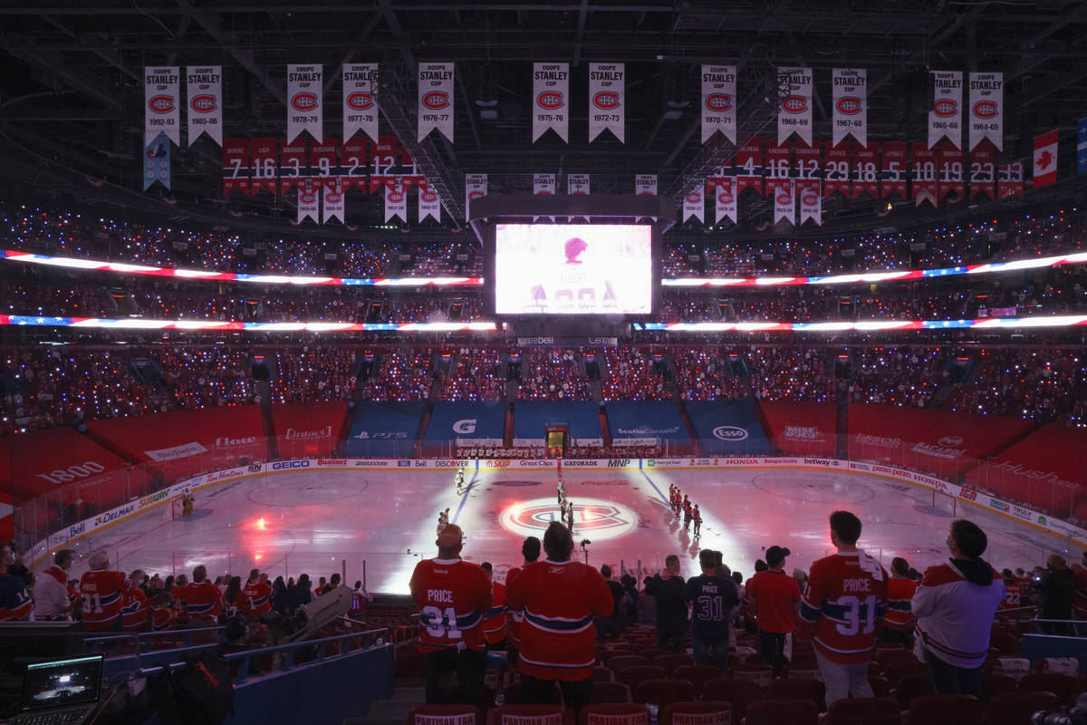 Fans stand for the national anthems prior to Game 3 of the NHL hockey Stanley Cup semifinal bet ...