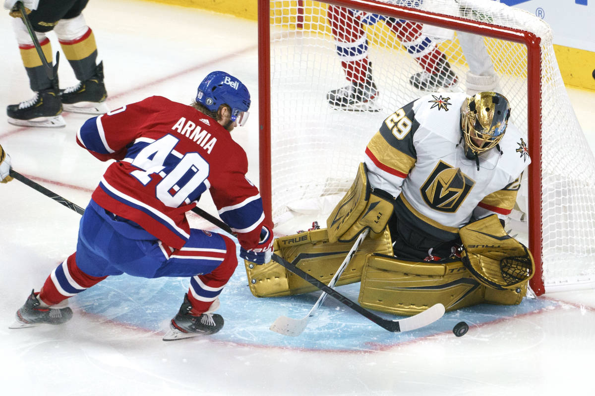 Vegas Golden Knights' Marc-Andre Fleury makes a save on Montreal Canadiens' Joel Armia during t ...