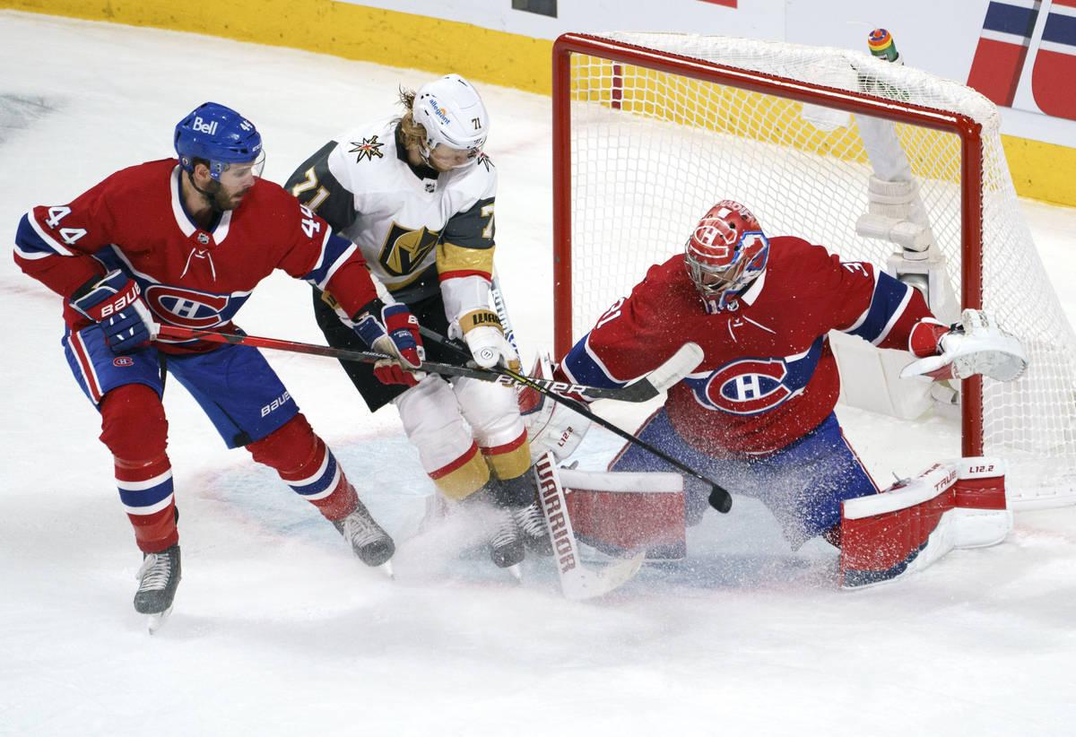 Montreal Canadiens goaltender Carey Price stops Vegas Golden Knights' William Karlsson, who he ...