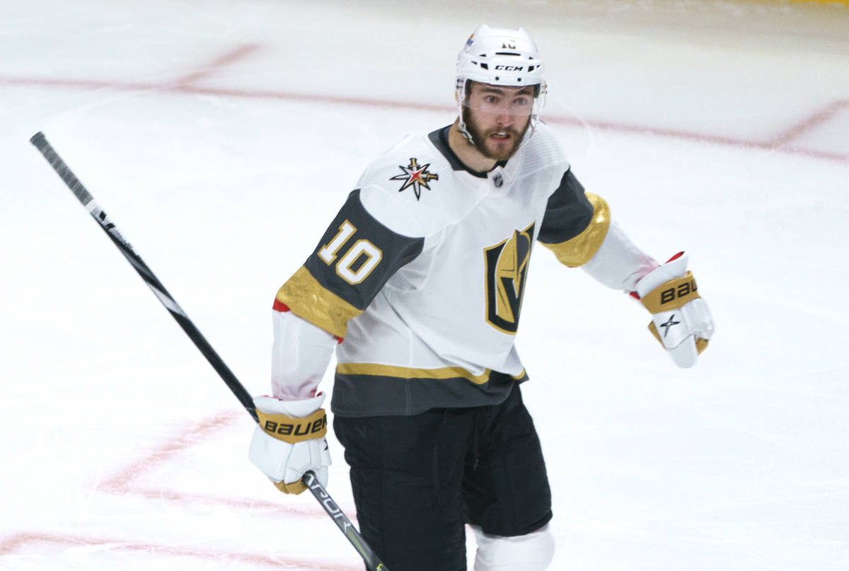 Vegas Golden Knights' Nicolas Roy celebrates his goal against the Montreal Canadiens during the ...