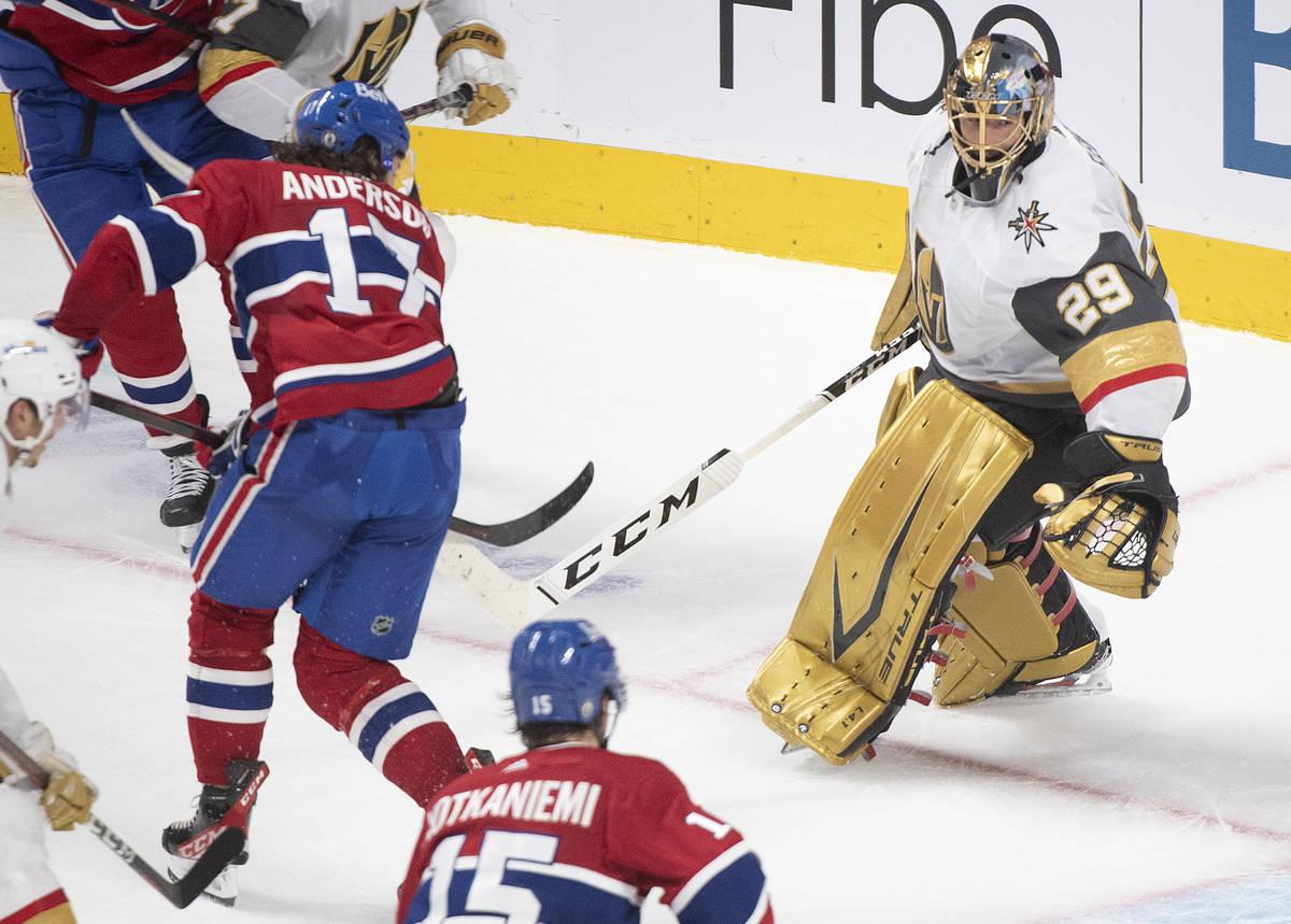 Montreal Canadiens' Josh Anderson (17) scores against Vegas Golden Knights goaltender Marc-Andr ...