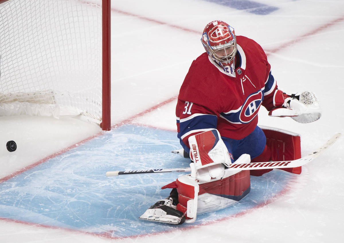 Montreal Canadiens goaltender Carey Price gives up a goal to Vegas Golden Knights' Alex Pietran ...